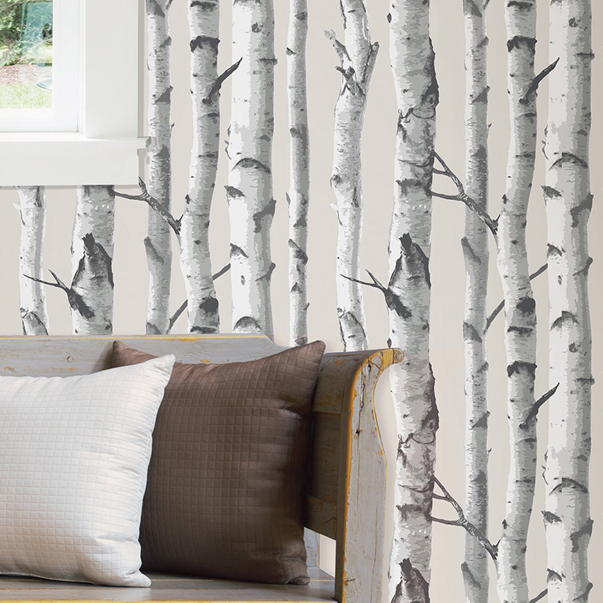 Click to view product details and reviews for Nuwallpaper Birch Tree White Self Adhesive Wallpaper White.