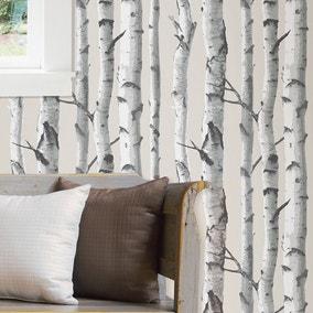 NuWallpaper Birch Tree White Self Adhesive Wallpaper