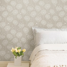 NuWallpaper Dandelion Taupe Self Adhesive Wallpaper
