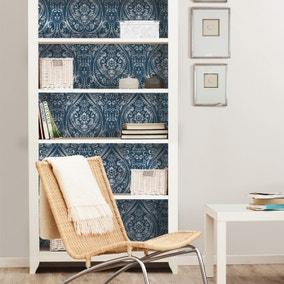 NuWallpaper Bohemian Damask Indigo Self Adhesive Wallpaper