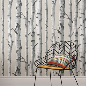 NuWallpaper Mountain Birch Grey Self Adhesive Wallpaper