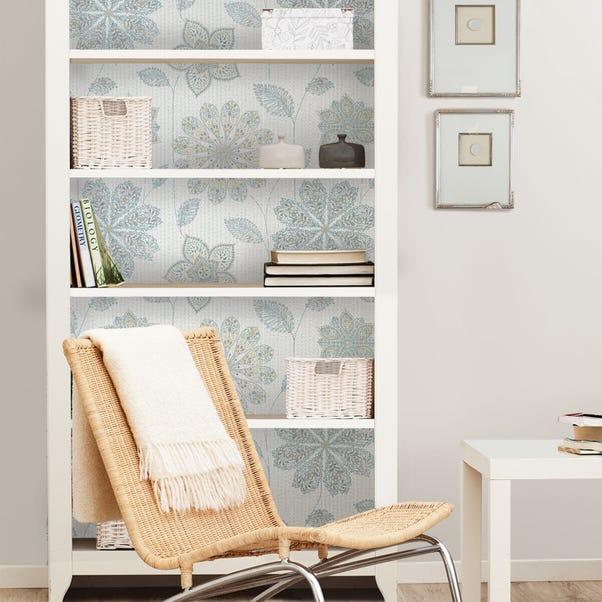 NuWallpaper Gypsy Floral Blue Self Adhesive Wallpaper Blue