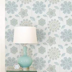 NuWallpaper Gypsy Floral Blue Self Adhesive Wallpaper