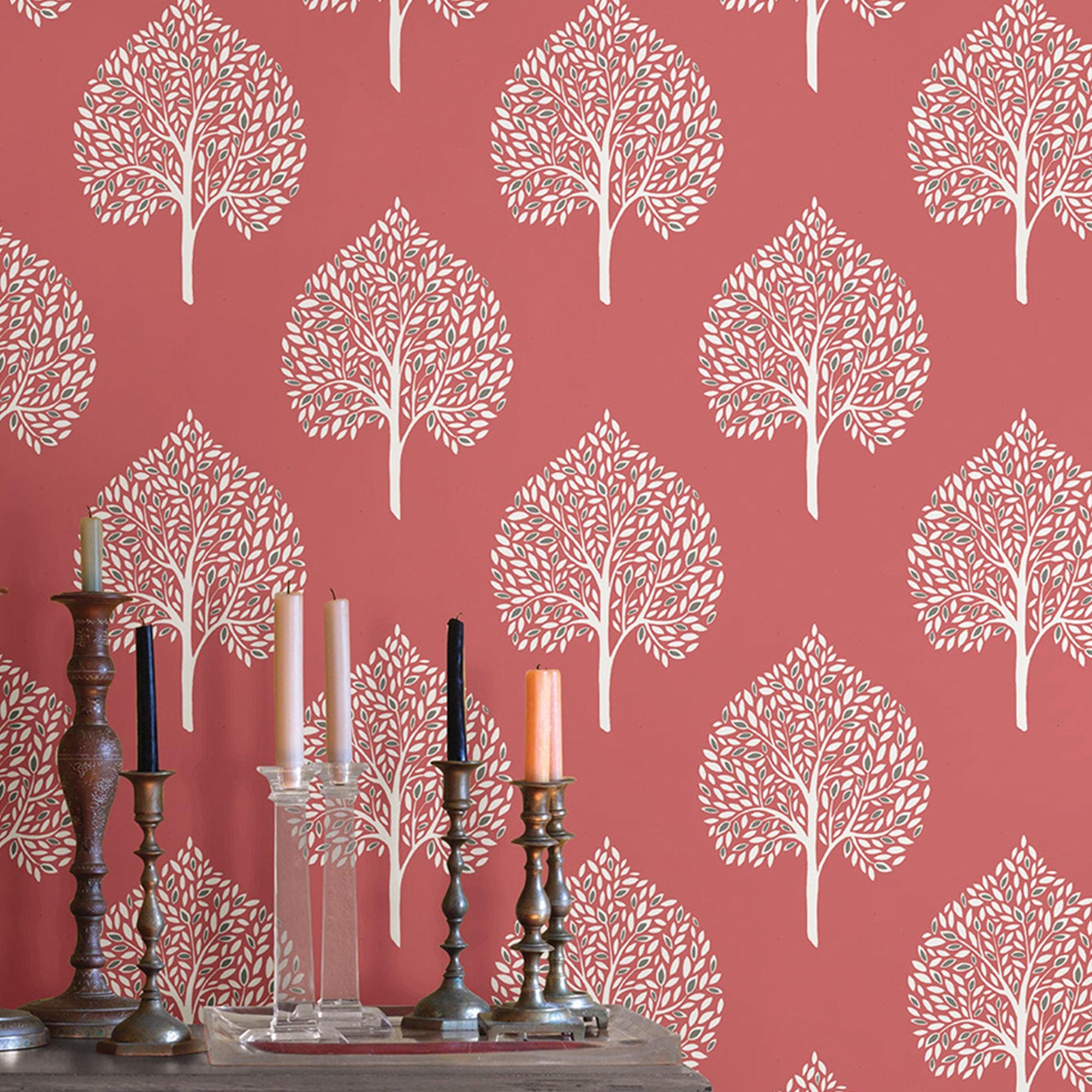 Nuwallpaper Grove Coral Self Adhesive Wallpaper Pink