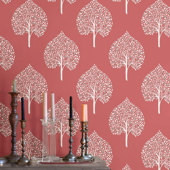 NuWallpaper Grove Coral Self Adhesive Wallpaper Pink