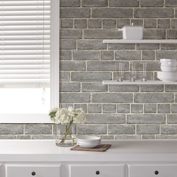 NuWallpaper Brick Facade Grey Self Adhesive Wallpaper Grey