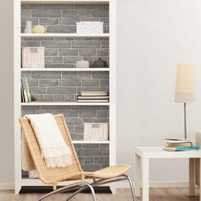 NuWallpaper Brick Facade Grey Self Adhesive Wallpaper