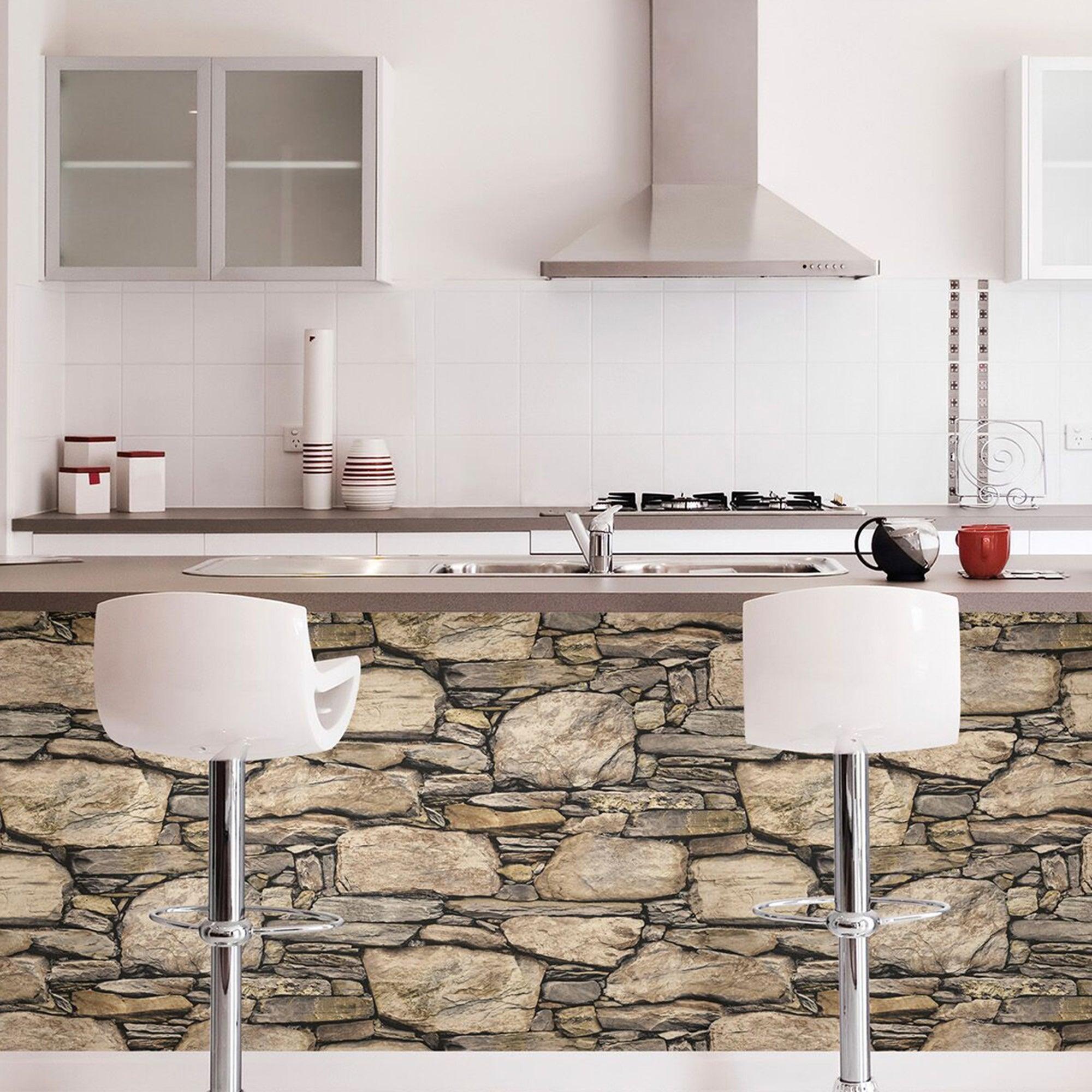 Nuwallpaper Hadrian Stone Wall Self Adhesive Wallpaper Natural