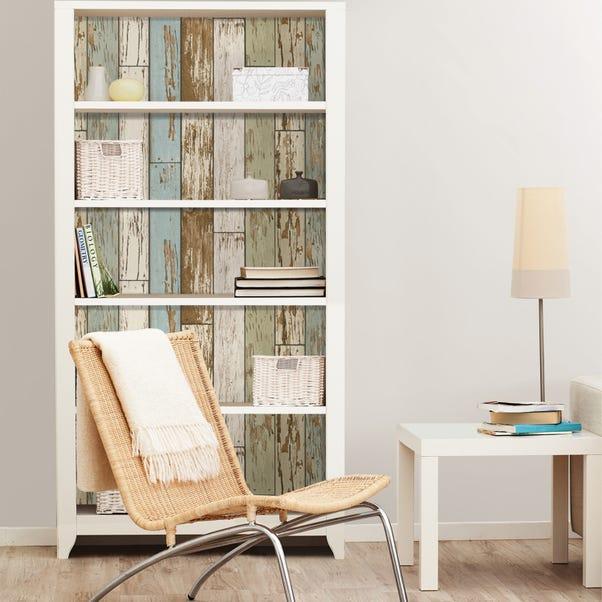 NuWallpaper Salem Vintage Wood Self Adhesive Wallpaper Brown