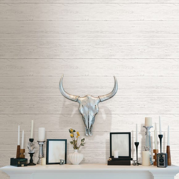 NuWallpaper Shiplap Self Adhesive Wallpaper White
