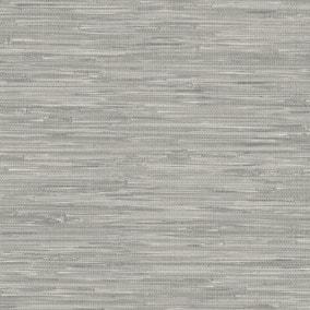 NuWallpaper Tibetan Grasscloth Grey Self Adhesive Wallpaper