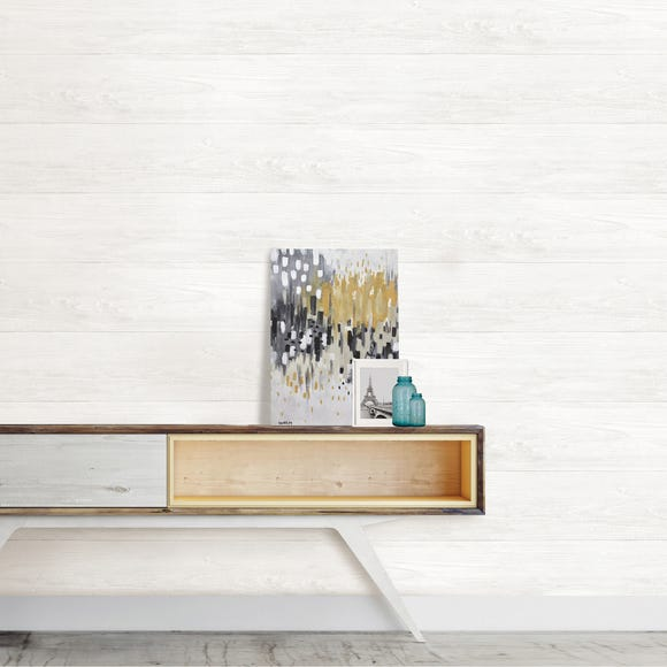 NuWallpaper Reclaimed Shiplap White Self Adhesive Wallpaper White