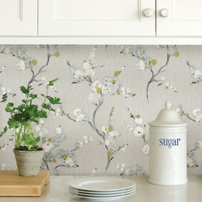 NuWallpaper Mirei Grey Self Adhesive Wallpaper