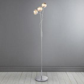Arta 3 Arm Smoked Glass Floor Lamp