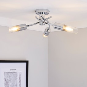 Corvus 3 Light Chrome Semi-Flush Ceiling Fitting