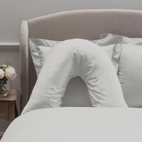 Dorma 300 Thread Count 100% Cotton Sateen Plain White V-Shaped Pillowcase