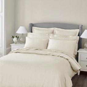 Dorma 300 Thread Count 100% Cotton Sateen Plain Cream Duvet Cover
