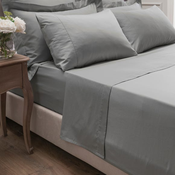 Dorma 300 Thread Count 100% Cotton Sateen Plain Flat Sheet Silver undefined