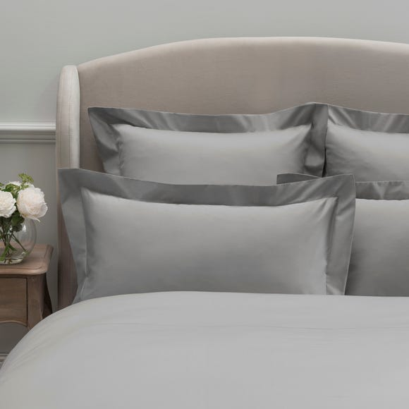 Dorma 300 Thread Count 100% Cotton Sateen Plain Silver Oxford Pillowcase Silver