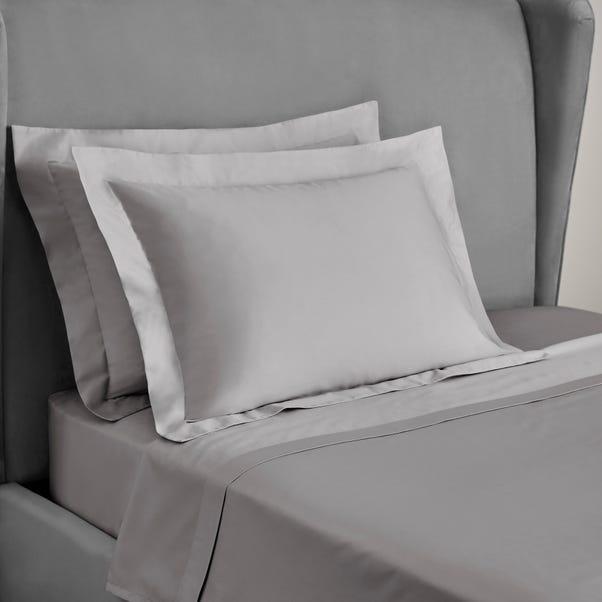 Dorma 300 Thread Count 100% Cotton Sateen Plain Silver Kingsize Oxford Pillowcase Silver