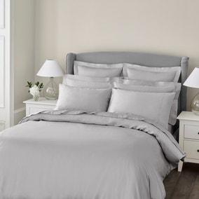 Dorma 300 Thread Count 100% Cotton Sateen Plain Silver Duvet Cover
