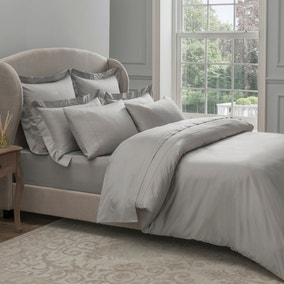 Dorma 300 Thread Count 100% Cotton Sateen Plain Silver Duvet Cover