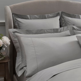 Dorma 300 Thread Count 100% Cotton Sateen Plain Silver Cuffed Pillowcase