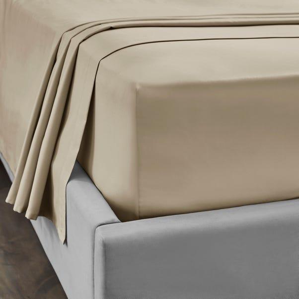 Dorma 300 Thread Count 100% Cotton Sateen Plain Flat Sheet Natural undefined