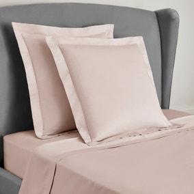 Dorma 300 Thread Count 100% Cotton Sateen Plain Blush Continental Square Pillowcase