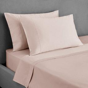 Dorma 300 Thread Count 100% Cotton Sateen Plain Blush Cuffed Pillowcase
