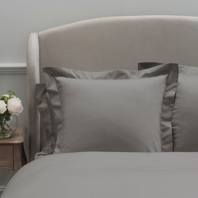 Dorma 300 Thread Count 100% Cotton Sateen Plain Slate Continental Square Pillowcase