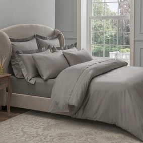 Dorma 300 Thread Count 100% Cotton Sateen Plain Slate Duvet Cover
