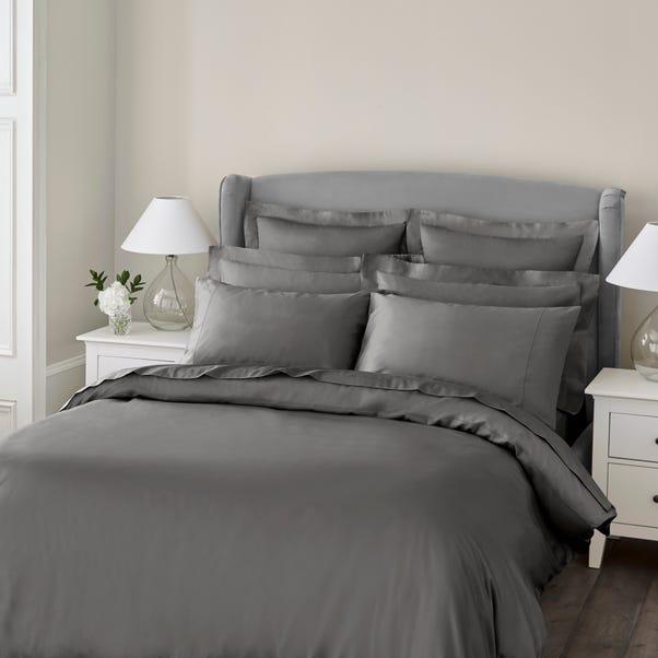 Cotton Sateen Plain Slate Duvet Cover, Elegant Slate Grey Bedding