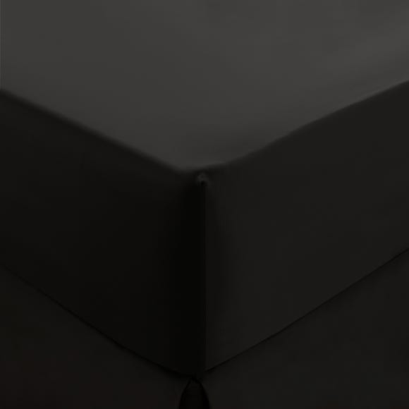 Dorma 300 Thread Count 100% Cotton Sateen Plain Fitted Sheet Black undefined