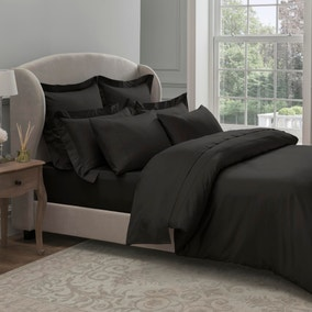Dorma 300 Thread Count 100% Cotton Sateen Plain Black Duvet Cover