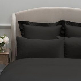Dorma 300 Thread Count 100% Cotton Sateen Plain Black Cuffed Pillowcase
