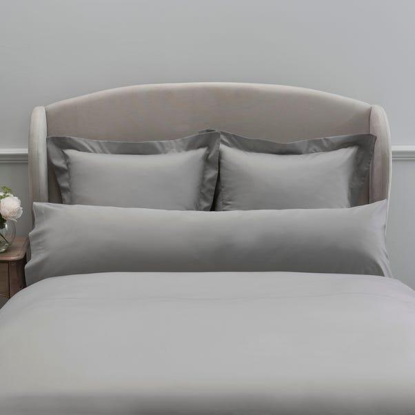 Dorma 300 Thread Count 100% Cotton Sateen Plain Silver Bolster Pillowcase