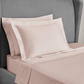 Dorma 300 Thread Count 100% Cotton Sateen Plain Blush Oxford Pillowcase