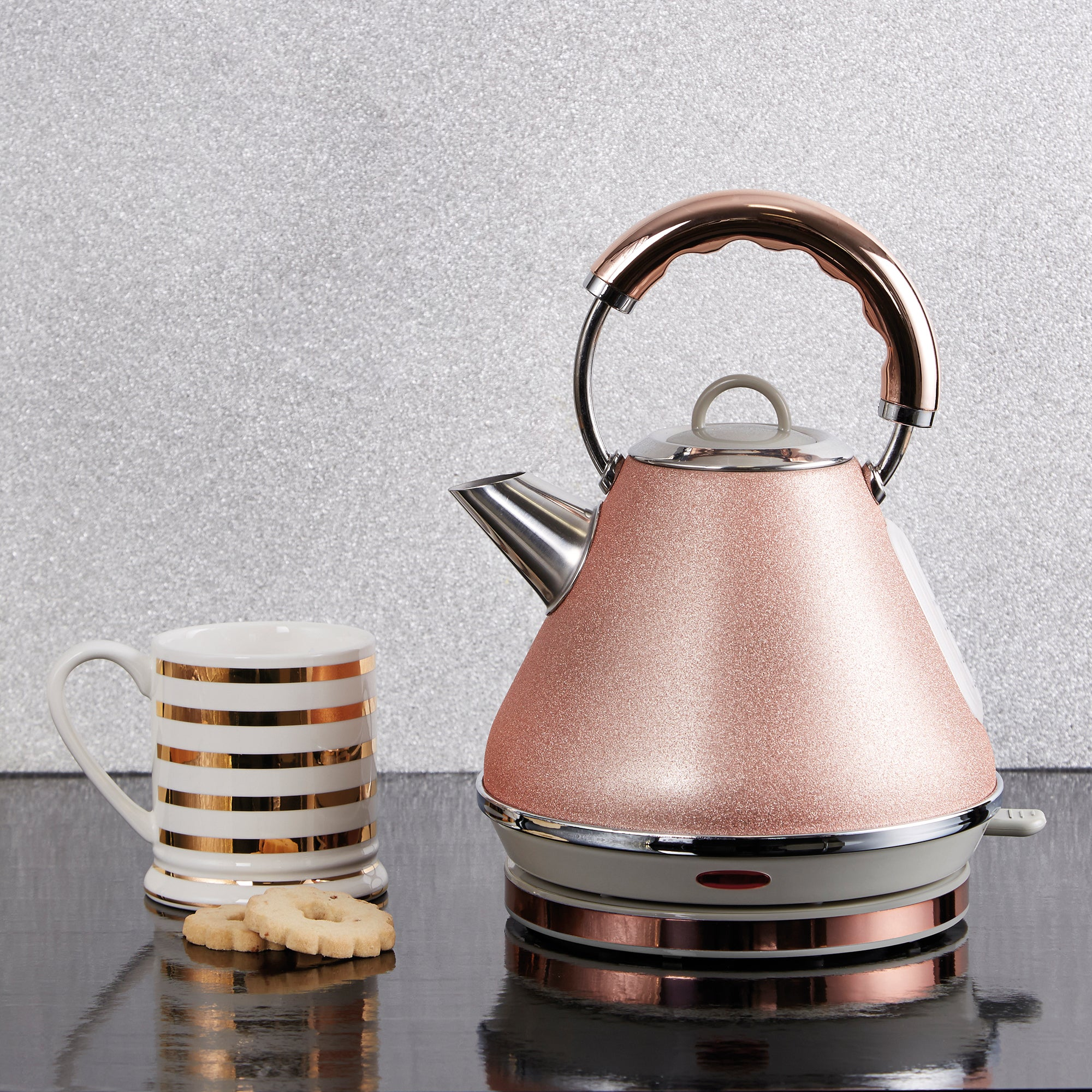 Dunelm Bling 17l Rose Gold Pyramid Kettle Rose Gold
