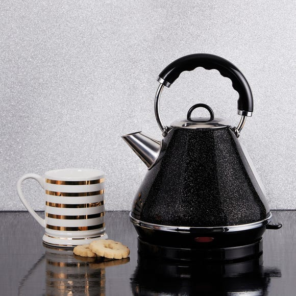 Dunelm Bling 1.7L Black Pyramid Kettle Black