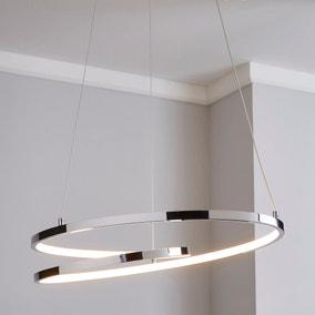 Menton Integrated LED Swirl Chrome Ceiling Fitting