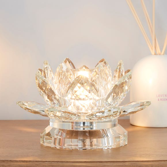 Dorma Cassali Lotus Flower Crystal Table Lamp Clear