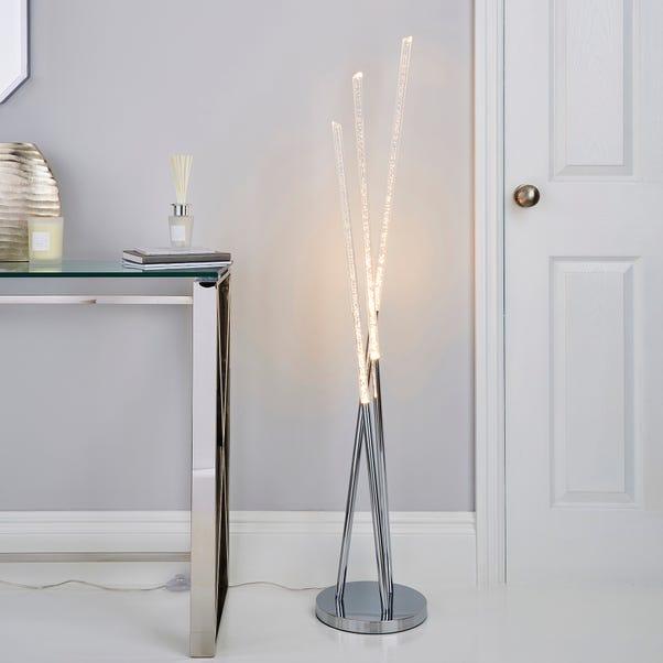Tassani 3 Arm Intergrated LED Bubble Acrylic Floor Lamp Silver