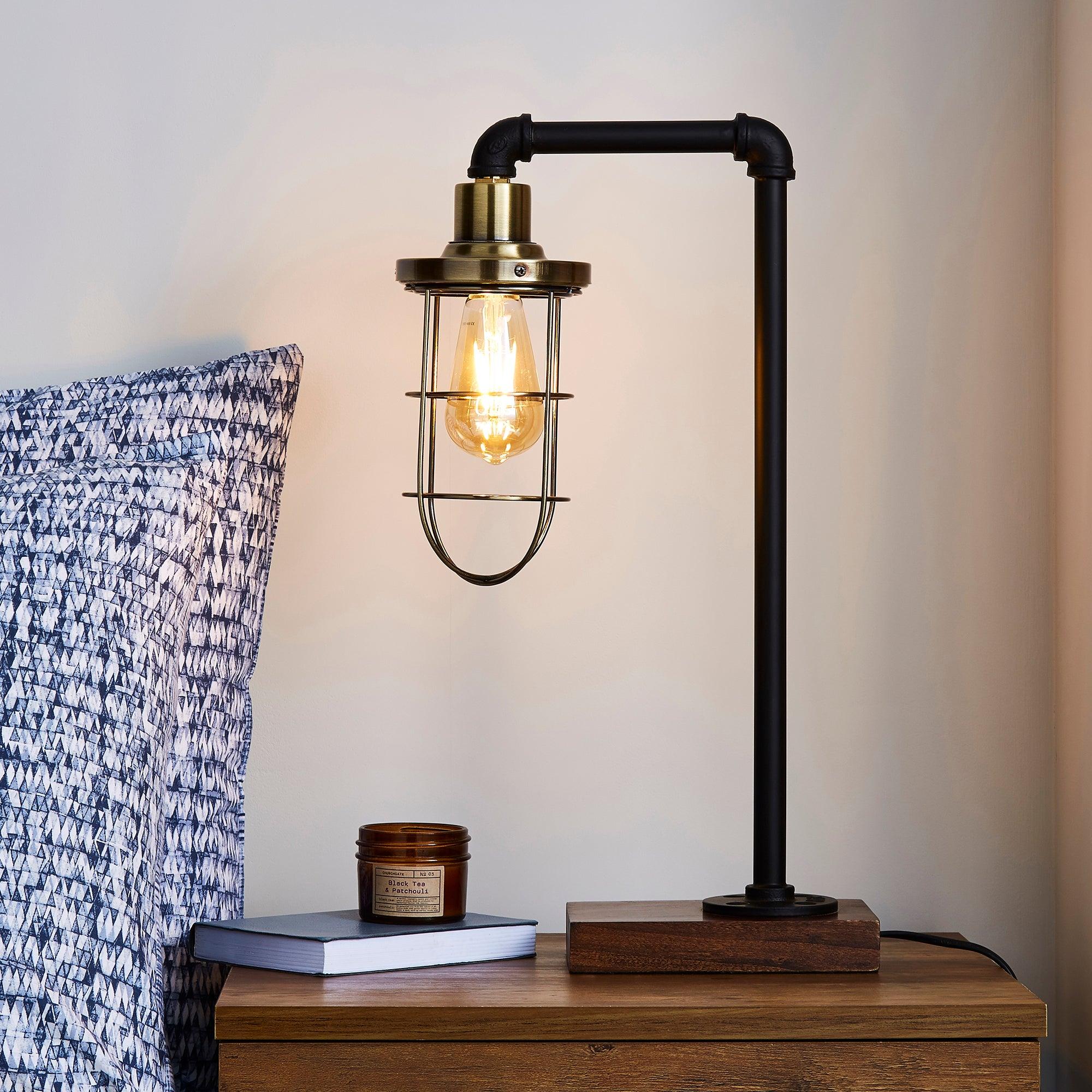 Milas Pipe Black Industrial Table Lamp Black