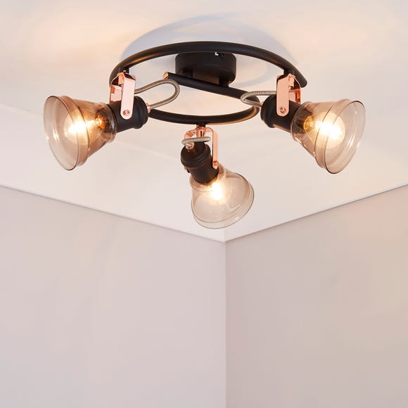 Milas 3 Light Black Industrial Semi-Flush Ceiling Fitting Black