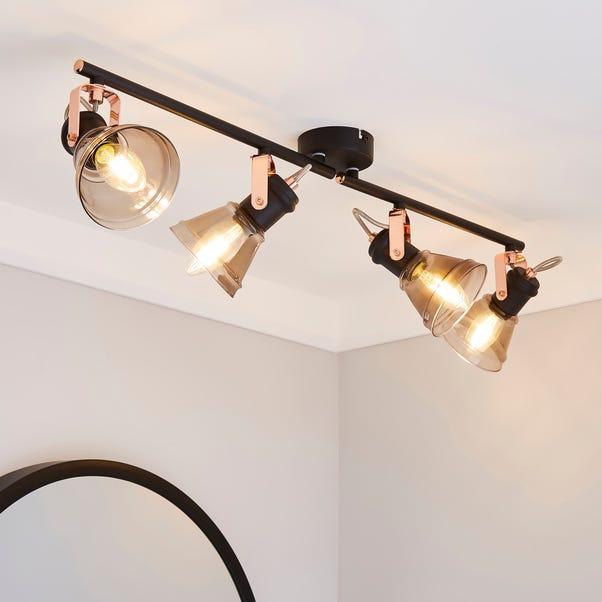 Milas 4 Light Black Industrial Spotlight Bar Black