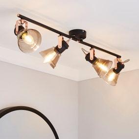 Milas 4 Light Black Industrial Spotlight Bar