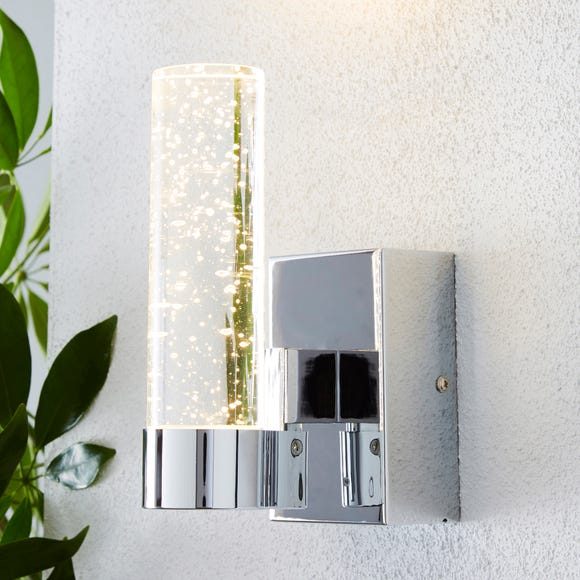 Bubble Glass Chrome Outdoor Wall Light Silver