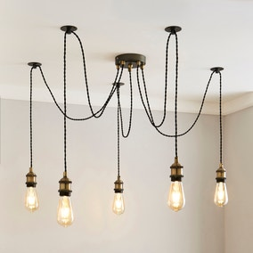Logan 5 Light Spider Antique Brass Industrial Cluster Flex Fitting