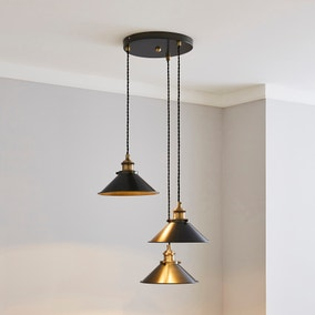 Logan 3 Light Grey Industrial Cluster Ceiling Fitting